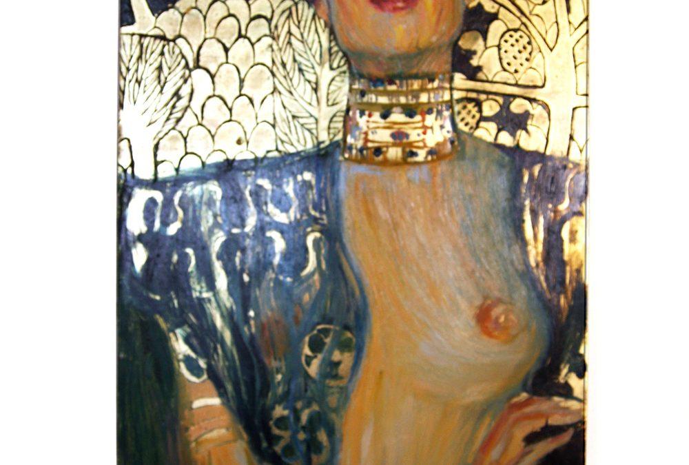 """""""Judyta z głową Holofernesa"""" wg Gustava Klimta.  Olej na gruntowanej desce. Złocenia."""