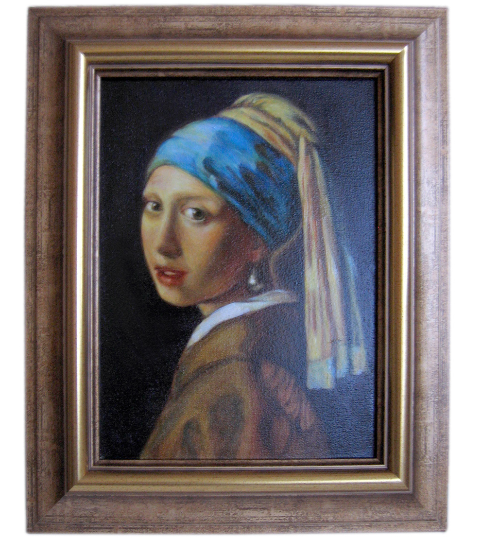 """""""Girl with a pearl earring"""" by Johannes Vermeer. Oil on canvas. Glazing technique."""