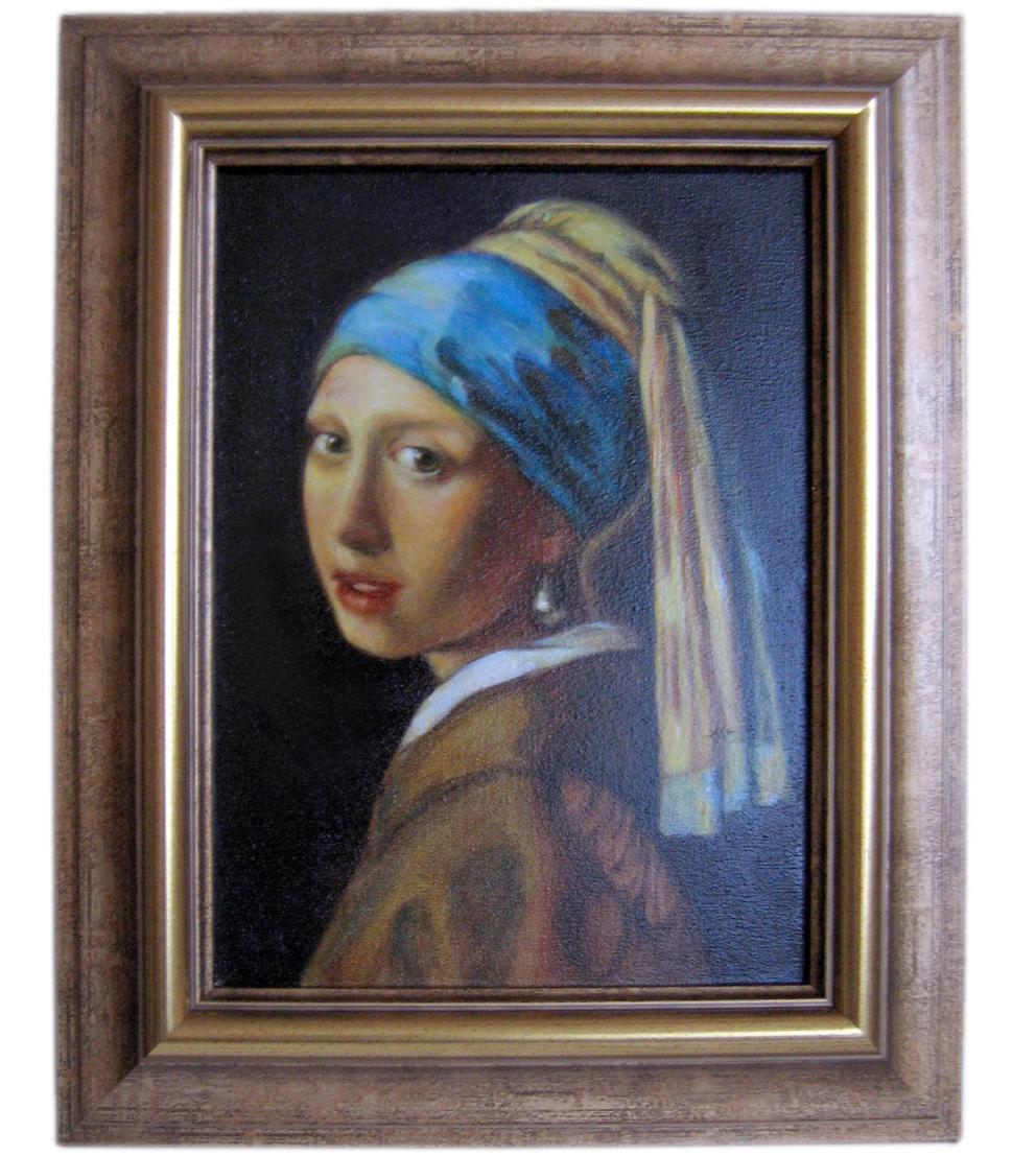 """""""Dziewczyna z perłą"""" wg Jana Vermera van Delft.  Olej na płótnie. Technika laserunkowa."""